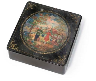 A RUSSIAN LACQUERED BOX