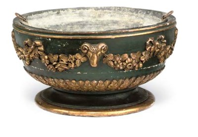 A GREEN PAINTED AND GILTWOOD C