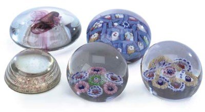 A GROUP OF FIVE PAPERWEIGHTS