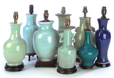 EIGHT VARIOUS CHINESE VASES AD
