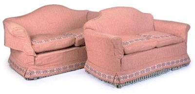 A NEAR PAIR OF UPHOLSTERED TWO