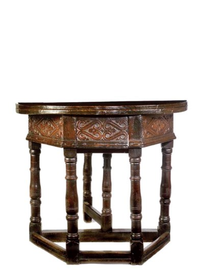 AN ENGLISH OAK CREDENCE TABLE
