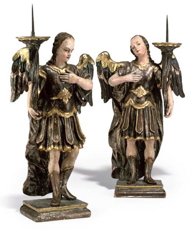 A PAIR OF ITALIAN SILVERED AND