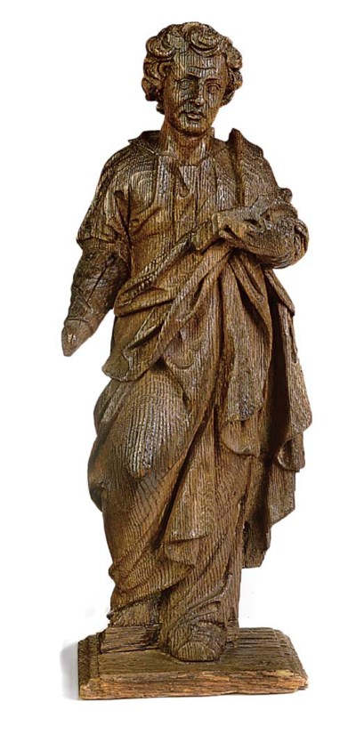A FLEMISH OAK STATUETTE OF ST.