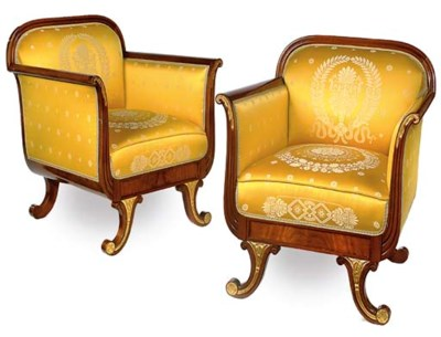 A PAIR OF MAHOGANY AND PARCEL