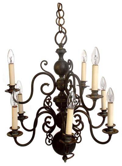 A DUTCH NINE-LIGHT CHANDELIER