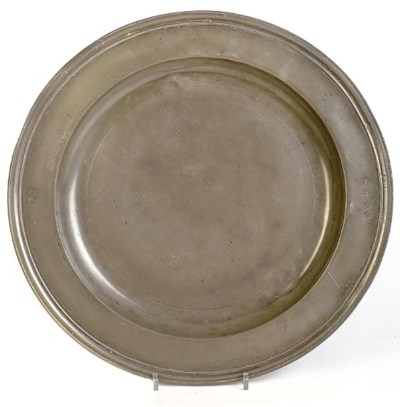 A TRIPLE REEDED PEWTER DISH