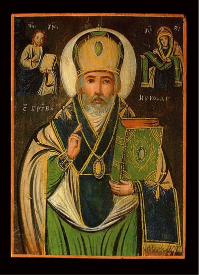 A ROMANIAN ICON OF ST.NICOLAS