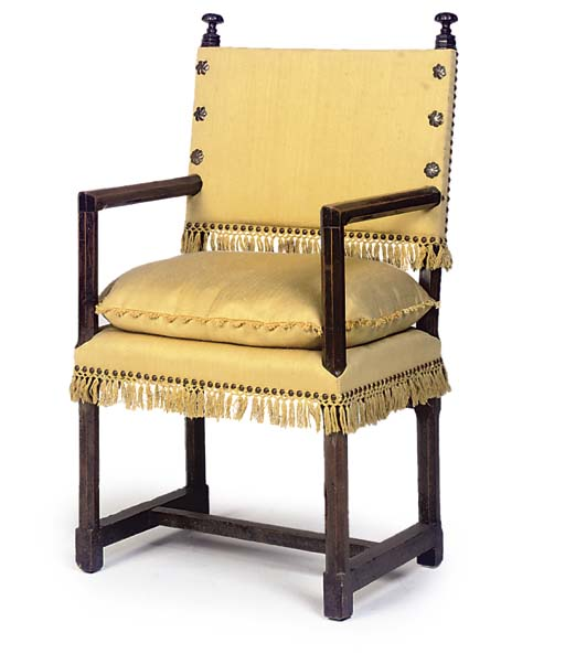 A NORTH ITALIAN WALNUT AND BRONZE MOUNTED ARMCHAIR