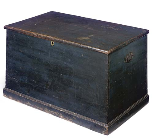 A BLUE PAINTED PINE CHEST