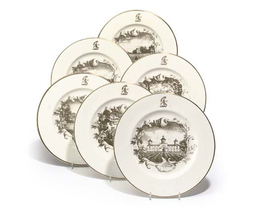 A SET OF SIX WILTON PORCELAIN TOPOGRAPHICAL PLATES DEPICTING A SERIES OF BORDEAUX CHATEAUX