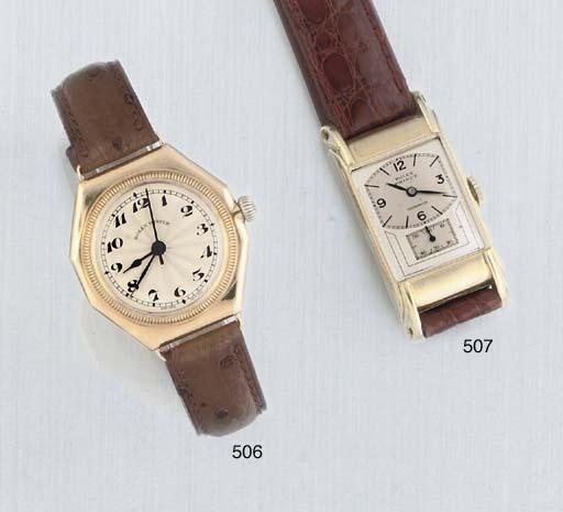 Rolex. A 14ct Gold Rectangular