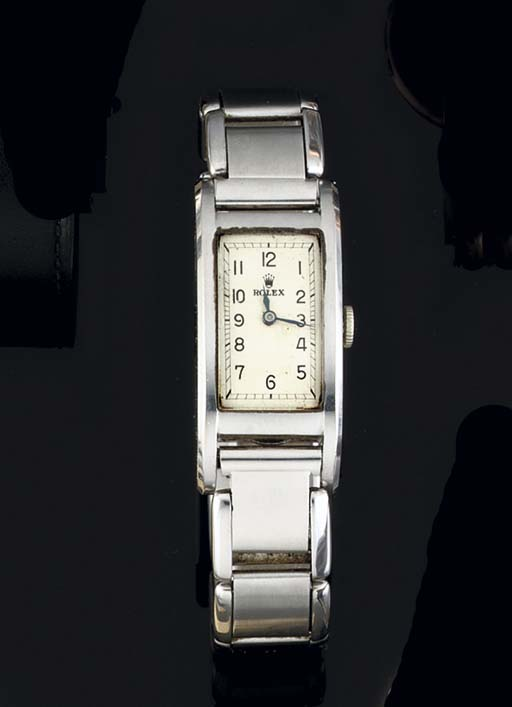 Rolex. A Stainless Steel Recta