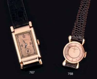 Rolex. A 18ct Pink Gold Rectan