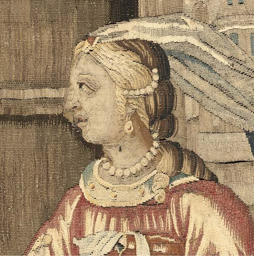 AN AUBUSSON TAPESTRY DEPICTING