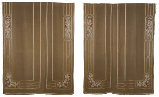 A PAIR OF BUFF WOVEN CURTAINS