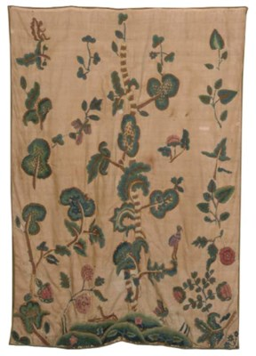 A REAPPLIED CREWELWORK CURTAIN