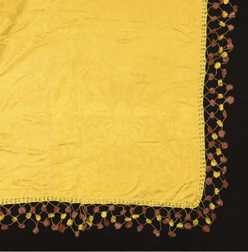 A LARGE PANEL OF YELLOW SILK D