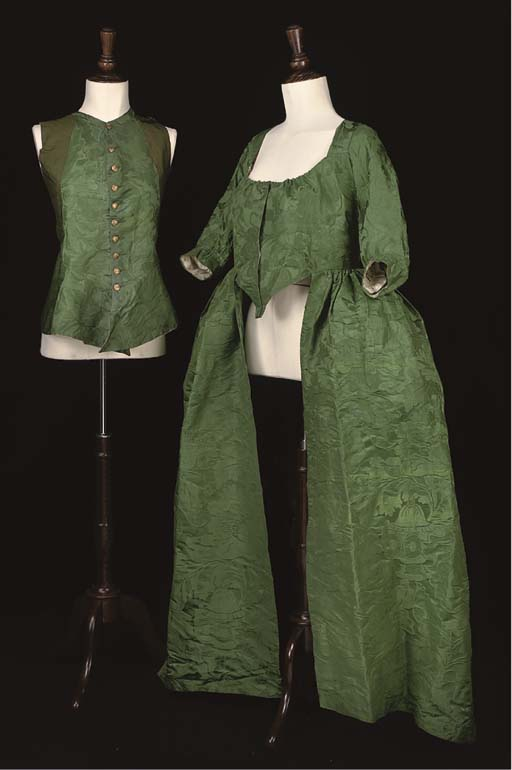 A GREEN DAMASK OPEN ROBE AND W