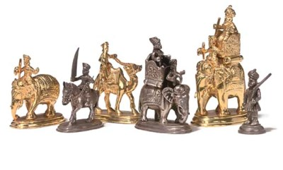 AN INDIAN GILT AND SILVER COLO