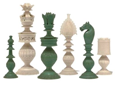 AN ANGLO-INDIAN IVORY CHESS SE