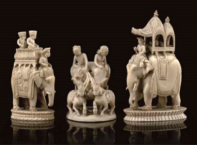 TWO INDIAN CARVED IVORY 'JOHN