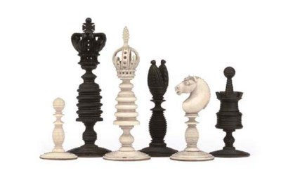 AN ENGLISH TURNED IVORY CHESS
