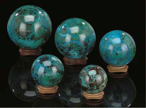 A Group of Five Chrysocolla Sp