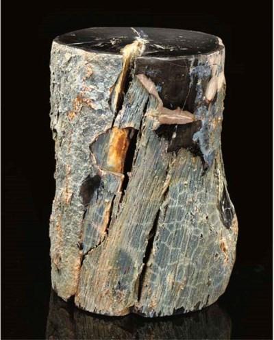 An unusual petrified wood log,