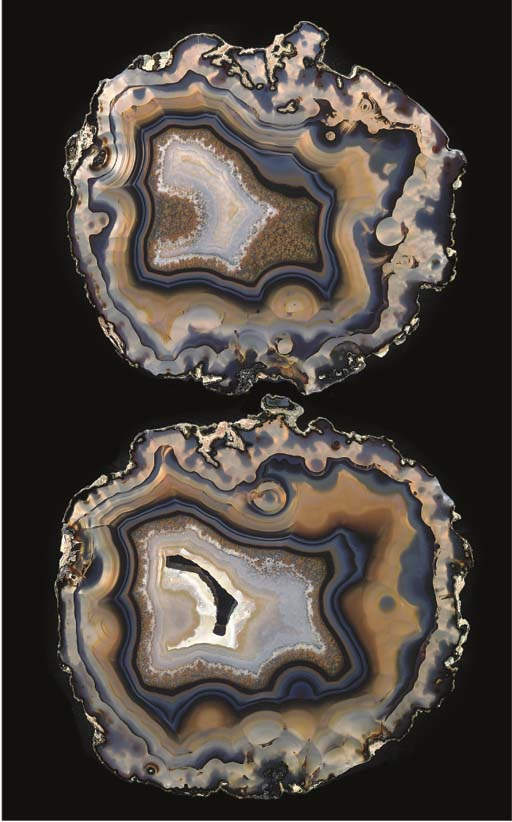 A fine pair of agate slices,