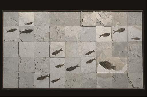 A large framed mosaic fish pla