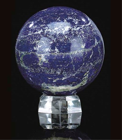 A lapis lazuli sphere,