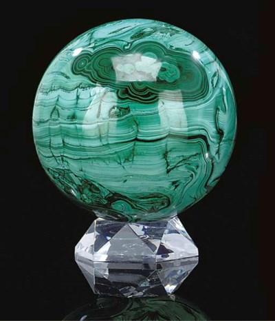 A malachite sphere,