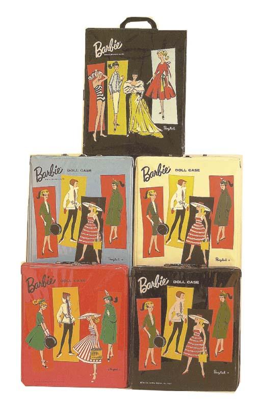 Five Barbie Vinyl carrying cas