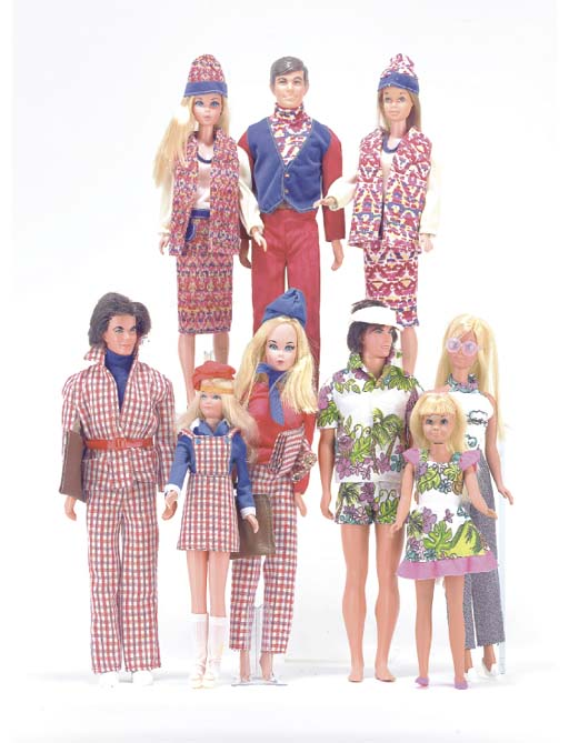 Barbie, Ken and Skipper in mat