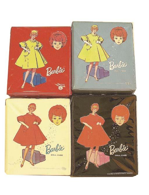 Four vinyl Barbie carrying cas