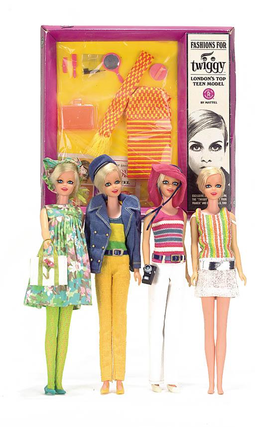 Four Twiggy dolls