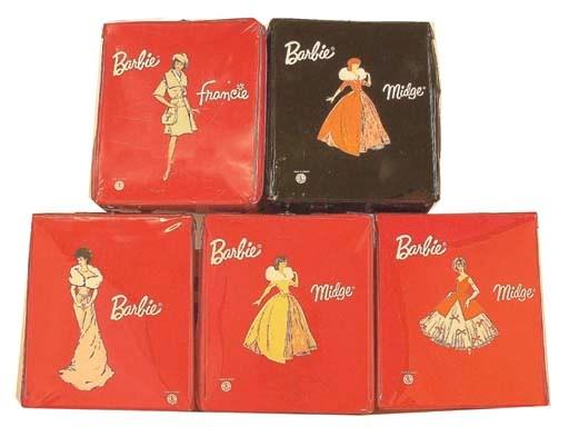 Five vinyl Barbie, Midge and F