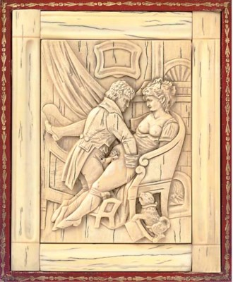 A FRENCH EROTIC IVORY RELIEF C