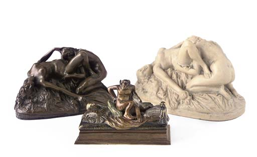 A RESIN EROTIC GROUP OF TWO WO
