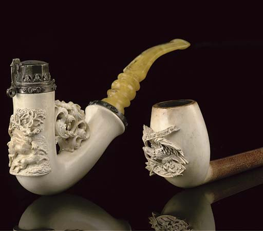 NINE MEERSCHAUM PIPES AND BOWL