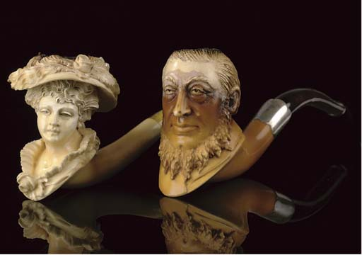 SEVEN CASED MEERSCHAUM PIPES A