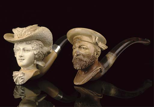 FIVE CASED MEERSCHAUM PIPES AN