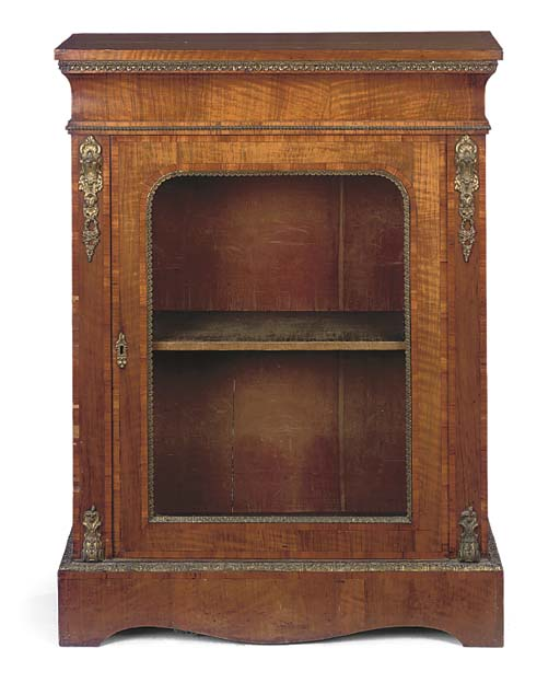 A VICTORIAN GILT-METAL MOUNTED WALNUT AND CROSSBANDED DWARF SIDE CABINET