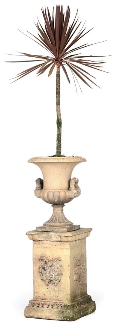 A VICTORIAN TERRACOTTA URN AND