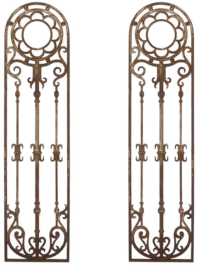 A PAIR OF CAST IRON PANELS