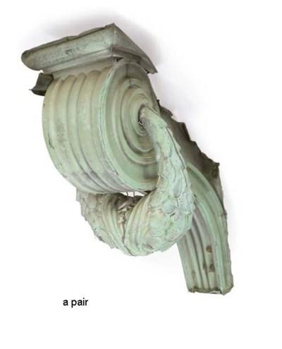 A PAIR OF LARGE ZINC ARCHITECT