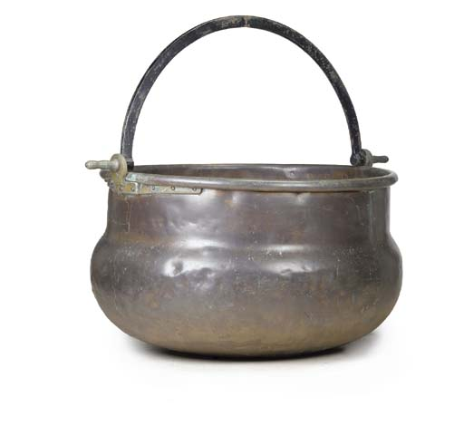 A COPPER AND BRASS VAT OF LARG