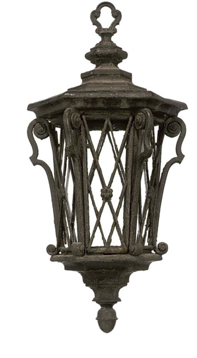 A BLACK PAINTED IRON HALL LANT