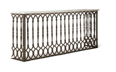 A FRENCH CAST IRON CONSOLE TAB